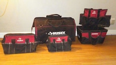 black and red husky tool bags
