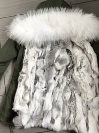Rex rabbit genuine fur lined parka with fox fur hood (brand new with tags size Small/medium) Ottawa, K1C