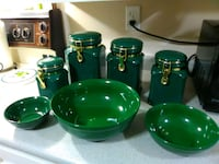 Vibrant Green Ceramic Canisters & 3 pc Bowl Set Edmonton, T5R 4E7