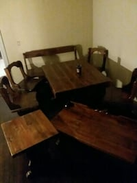 brown wooden dining table 4 chairs a bench seat .  Oklahoma City, 73108