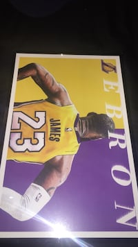 LeBron James In Lakers Jersey Print/Poster In 11x17 inch glass frame 2253 mi