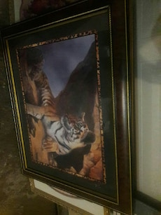 Bengal tiger painting with black frame