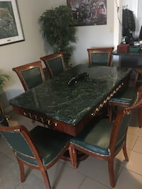 rectangular brown wooden table with chairs dining set Calgary, T2X 1E5