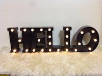 "Light up ""hello"" home decor sign- new condition"