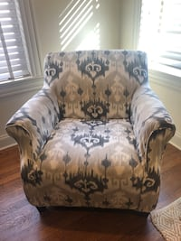 Armchair with Grey Ikat Print