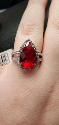 Ruby Red Sterling Silver Ring Kitchener