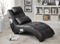 """Pelion """"Blue Tooth"""" Black Leather Chaise Lounge Charlotte, 28216"""