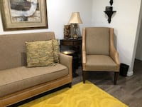 Two brown wooden framed beige padded armchairs Houston, 77092