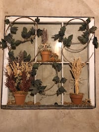 Refurbished Window Piece with Dried Flowers Flanders, 07836