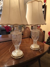 Gorgeous  vintage crystal lamps w/ shades