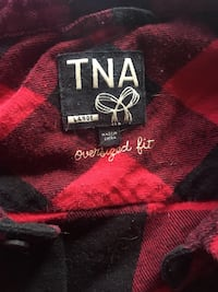 TNA oversized plaid button up long sleeve red size Large Edmonton, T6E 2E2