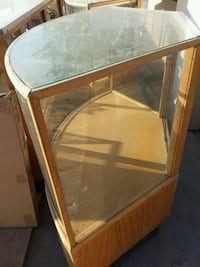 Curved Glass Columbus Oak Vintage Display Case Wellington, 84542