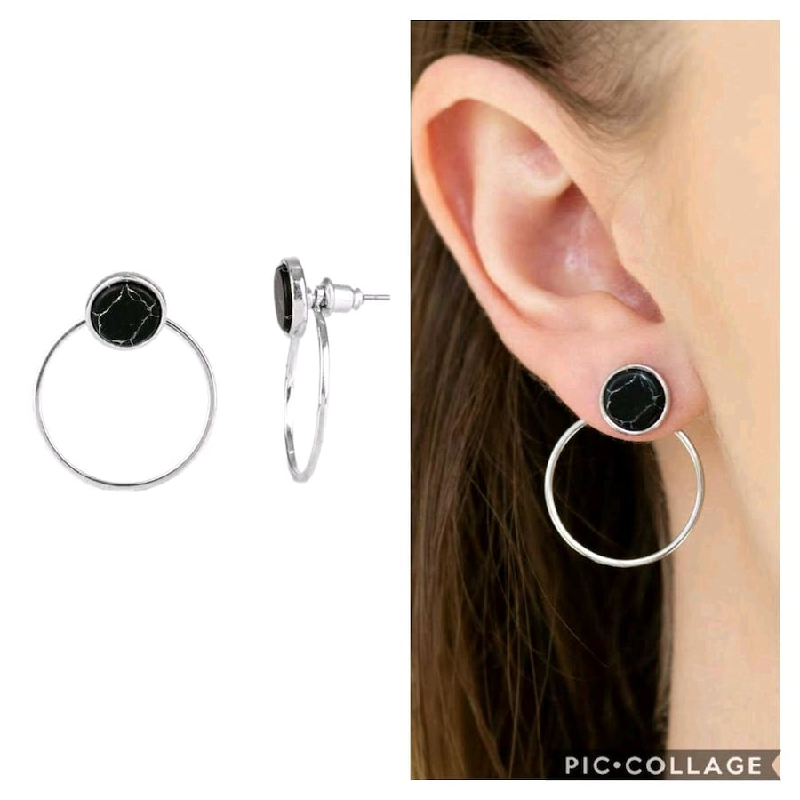 Simple stone dweller black post earrings  1fc28434-5a58-4513-b5a8-439797c4b8da