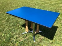 Funky Blue Table Top with Brand New Chrome Base Kawartha Lakes