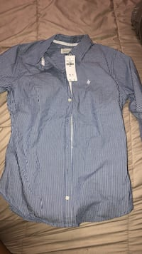 blue and white stripe button-up shirt Houston, 77009