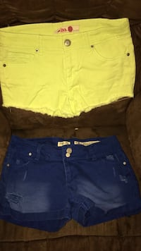 women's yellow and blue denim shorts