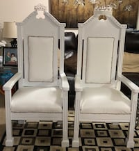 White leather and bling king and queen chairs Seat Pleasant, 20743