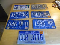 Michigan License Plates Lot of 7 Blue Michigan Pla Cedar Springs