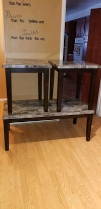 Two side tables & coffee table black & grey