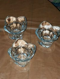 Set of 4 heavy Crystal tulip candle holders