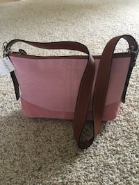 Pink and brown coach leather shoulder bag