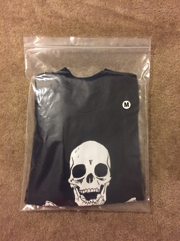 0717357a3510 Vlone Black Friday Skull And Bones T Shirt with supreme quality found in a  palace