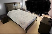 black wooden bed frame with white mattress Coquitlam, V3B 7J2