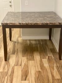 """Counter height marble and solid cherry wood dining table 54""""x54"""""""