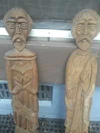 Hand carved wallhangers solid wood  very old 165 mi