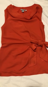 red scoop-neck sleeveless dress