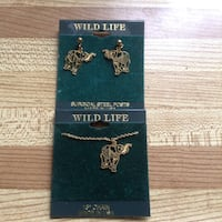Wildlife Elephant Necklace And Earrings