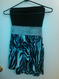 women's white and black strapless mini dress