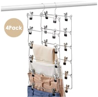 6 Tiers Clothing Hangers with Clips Space Saving Pants Hangers, 4 Pack