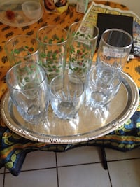 seven clear drinking glasses