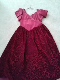 Dress (long) red with velvet bottom Burnaby