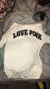 white Love Pink scoop-neck long-sleeved shirt Prince George, V2M 5X7