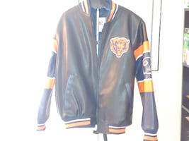 CHICAGO BEARS FAUX LEATHER JACKET-LARGE