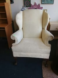 High end white wingback chair