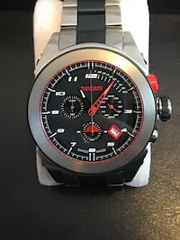 round silver-colored chronograph watch with black strap Toronto, M2M 4B1