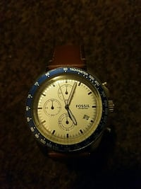 round silver chronograph watch with brown leather strap Hartsville, 29550