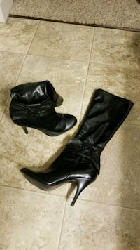 pair of black leather pointed-to stiletto knee-high boots Orem, 84097