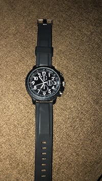 round black chronograph watch with black leather strap Shelby Township, 48317