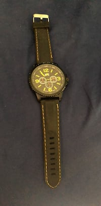 round black chronograph watch with brown leather strap Fountain Valley, 92708