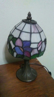 white, blue, and green tiffany table lamp
