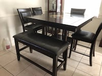 Counter height table faux marble lazy Susan + 4 chairs and Bench  Ventura, 93003
