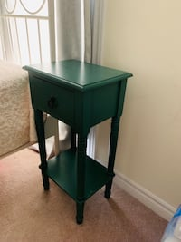 Green wooden single drawer side table Brampton, L7A