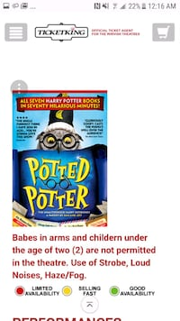 Potted potter play tickets  Vaughan, L6A 2Y5