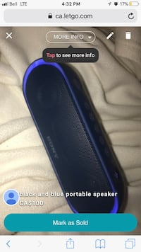 Blue flashing base Sony speaker, perfect condition not used much Markham, L6B 1A1