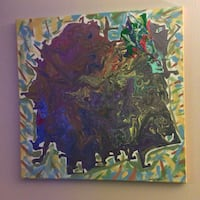 Green and blue abstract painting Branson, 65616