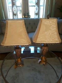 two brown wooden base white shade table lamps 1183 mi